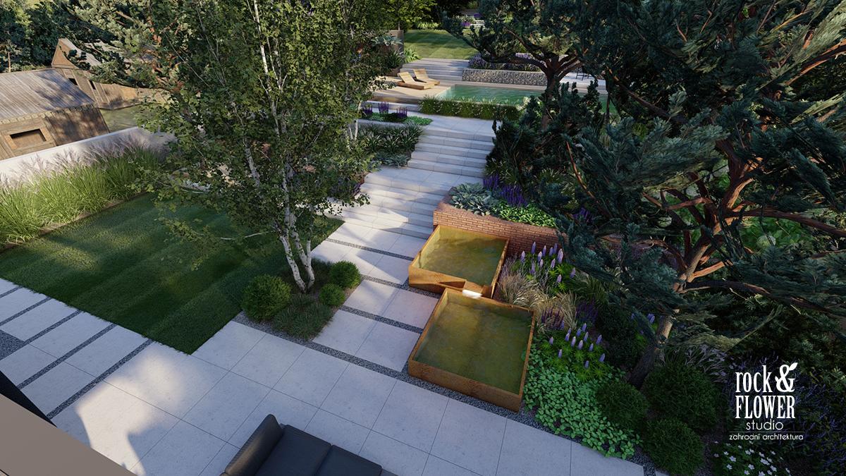 Moderni zahrada v Nachode, Rock&Flower Studio, zahradni architekt Praha